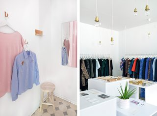 The fabric in sugary pink, which you can see from the street, hides a spacious fitting room.