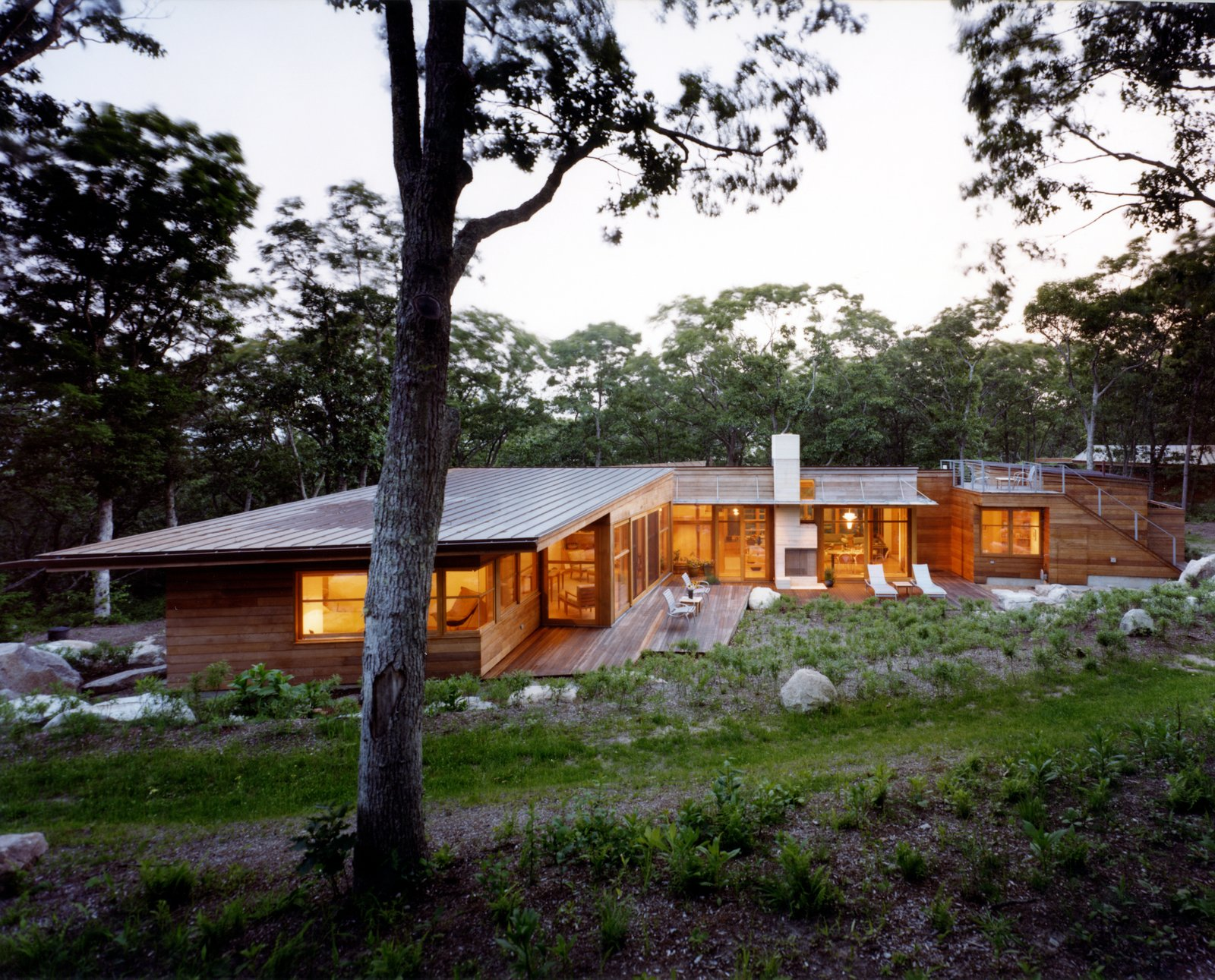 Outdoor, Small, Boulders, Shrubs, Wire, Wood, Grass, Back Yard, Metal, Trees, and Hardscapes  Outdoor Boulders Trees Metal Photos from Chilmark House