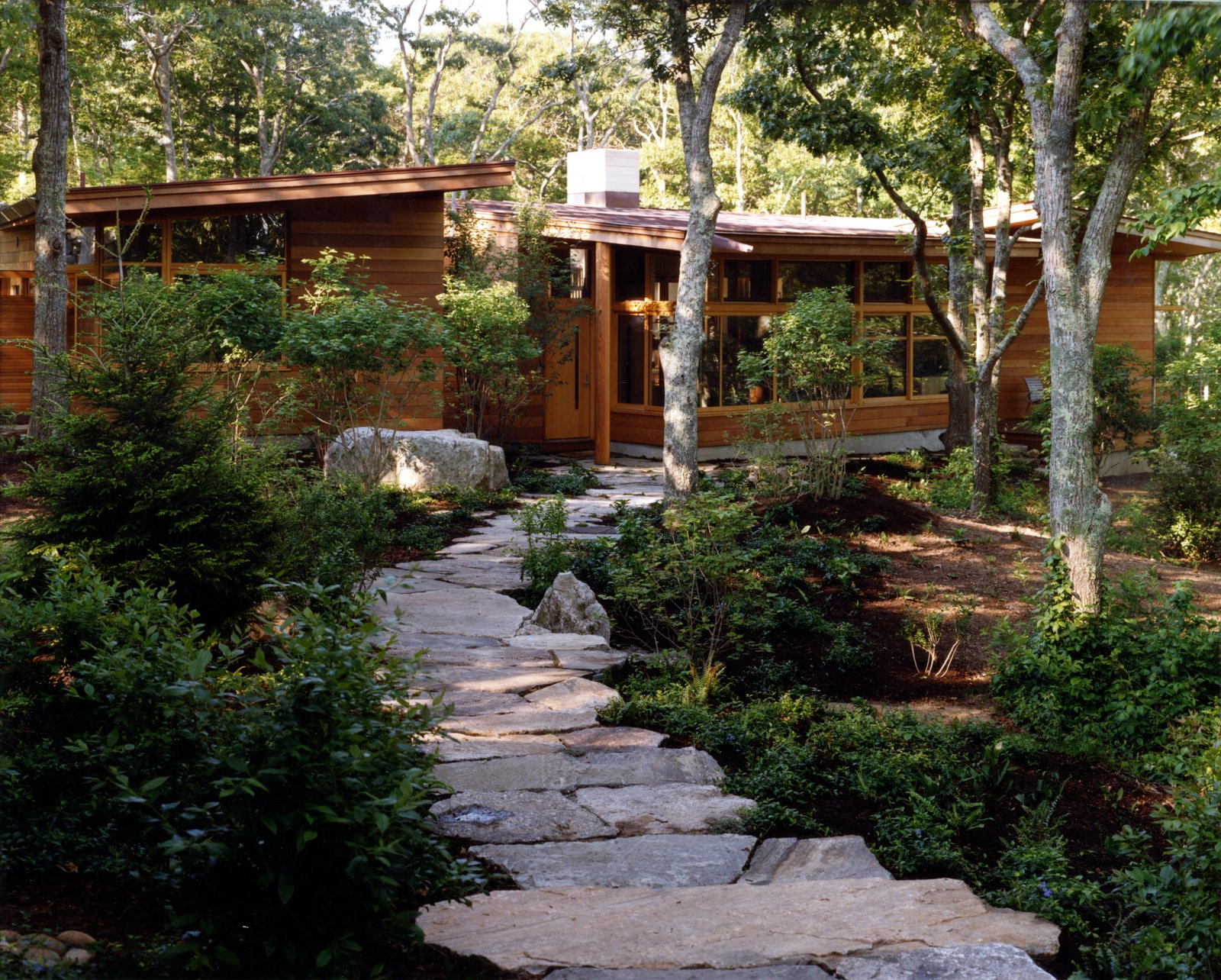 Outdoor, Boulders, Woodland, Front Yard, Trees, Metal, Shrubs, Wood, Hardscapes, Wire, Walkways, and Small  Outdoor Boulders Trees Metal Wood Photos from Chilmark House