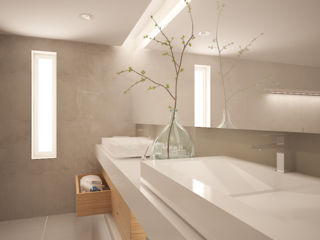 Geometric Perfection at the Center of this Minimalist Master Bathroom - Photo 1 of 4 - Competition: Master Bath, Texas