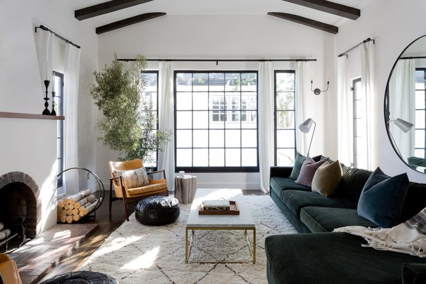 Living Room, Chair, Sofa, Ottomans, Sectional, Coffee Tables, Lamps, Floor Lighting, Wall Lighting, Dark Hardwood Floor, and Wood Burning Fireplace  Stearns Residence