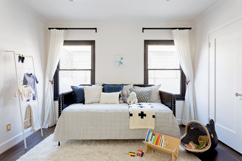 Bedroom, Shelves, Ceiling Lighting, Dark Hardwood Floor, and Bed  Stearns Residence