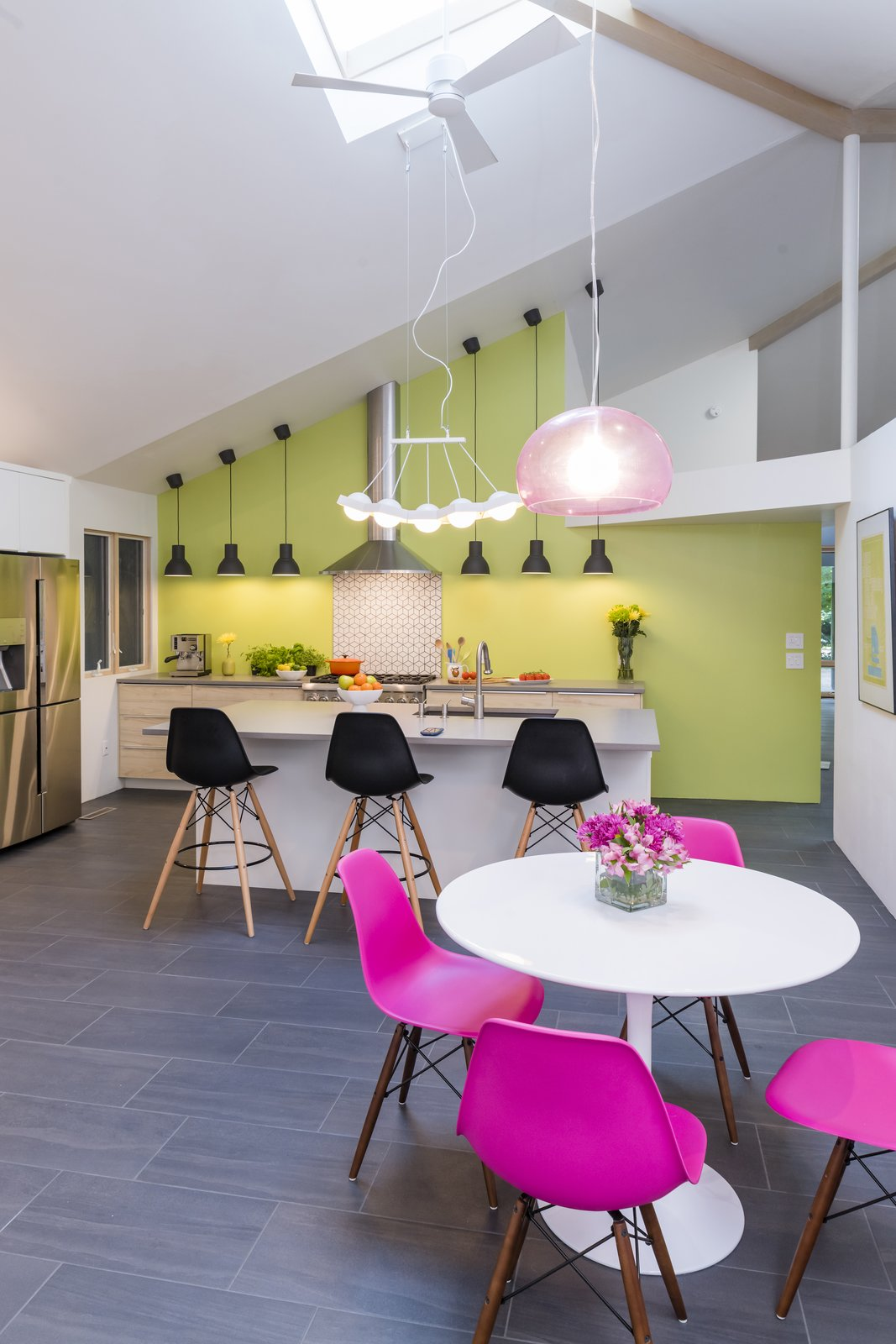 Kitchen, Porcelain Tile Floor, White Cabinet, Engineered Quartz Counter, Range Hood, Undermount Sink, Ceramic Tile Backsplashe, Ceiling Lighting, Wood Cabinet, Refrigerator, and Range  The Garden Path 2.0 by Jennifer Ott