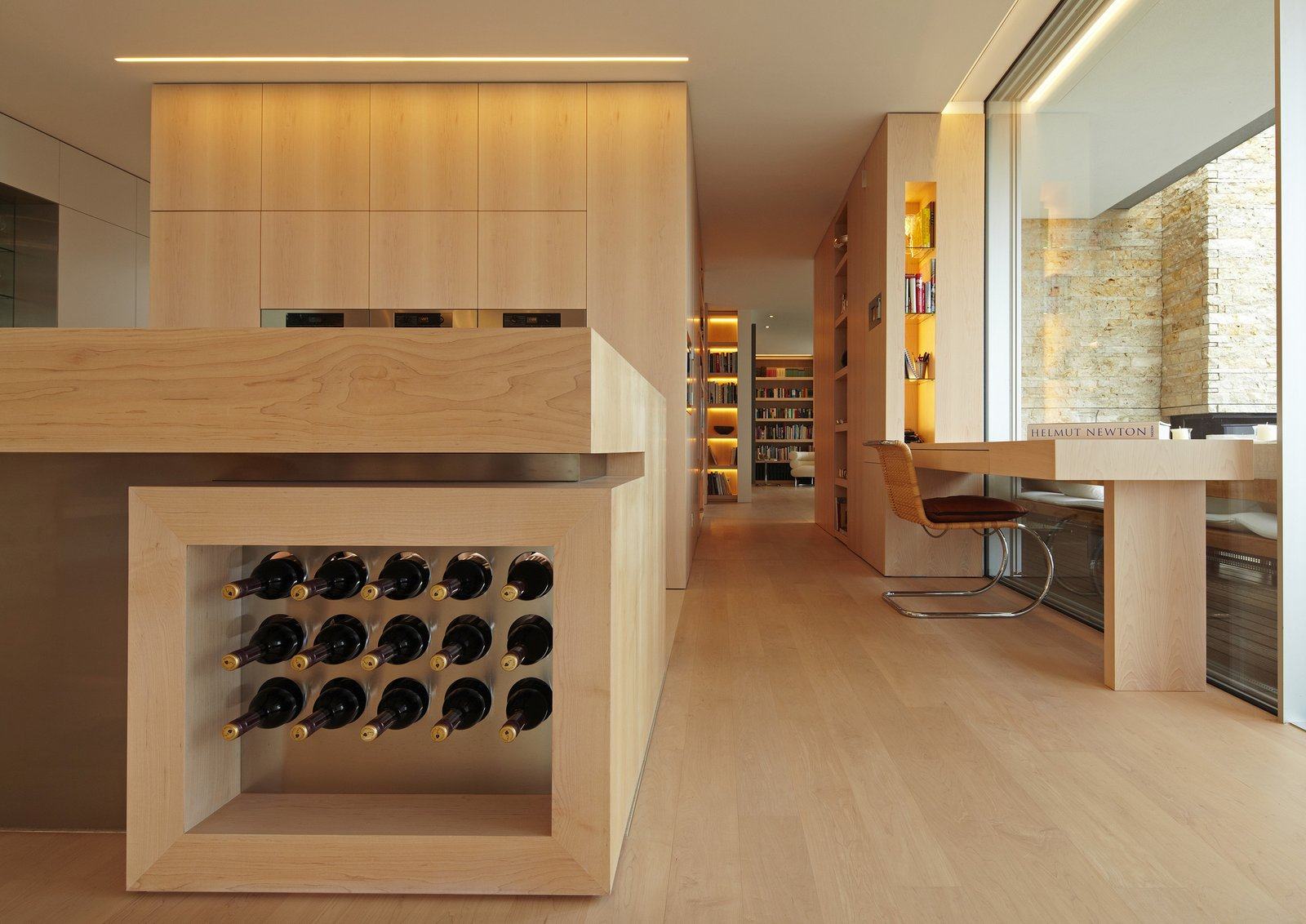 Kitchen, Wood Counter, and Wood Cabinet  House S by Stephan Maria Lang