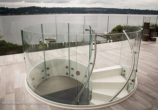 """""""White Chocolate Spiral Stair"""" - Photo 1 of 1 - Reflecting the cool grays of the Pacific NW</p><p><br>"""