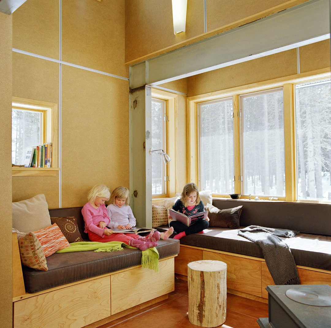 Living Room, Bench, and Concrete Floor  Wee Ski Chalet by Barrett Studio Architects