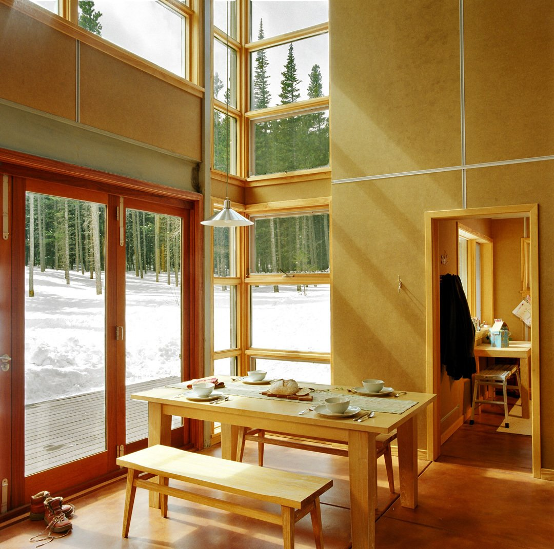 Dining Room, Table, Bench, and Concrete Floor  Wee Ski Chalet by Barrett Studio Architects