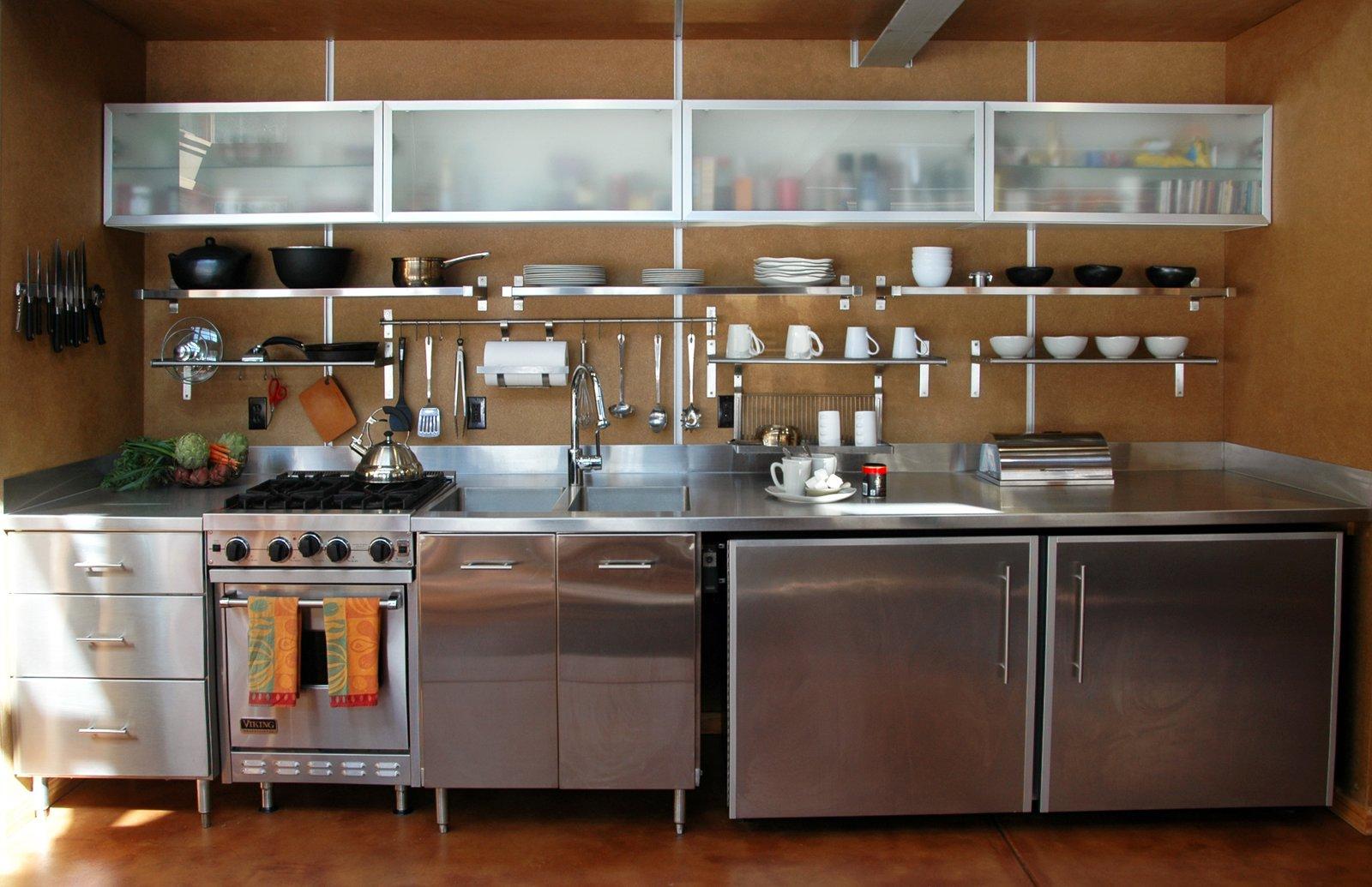 Kitchen, Refrigerator, Range, Metal, Metal, and Concrete  Best Kitchen Refrigerator Metal Photos from Wee Ski Chalet