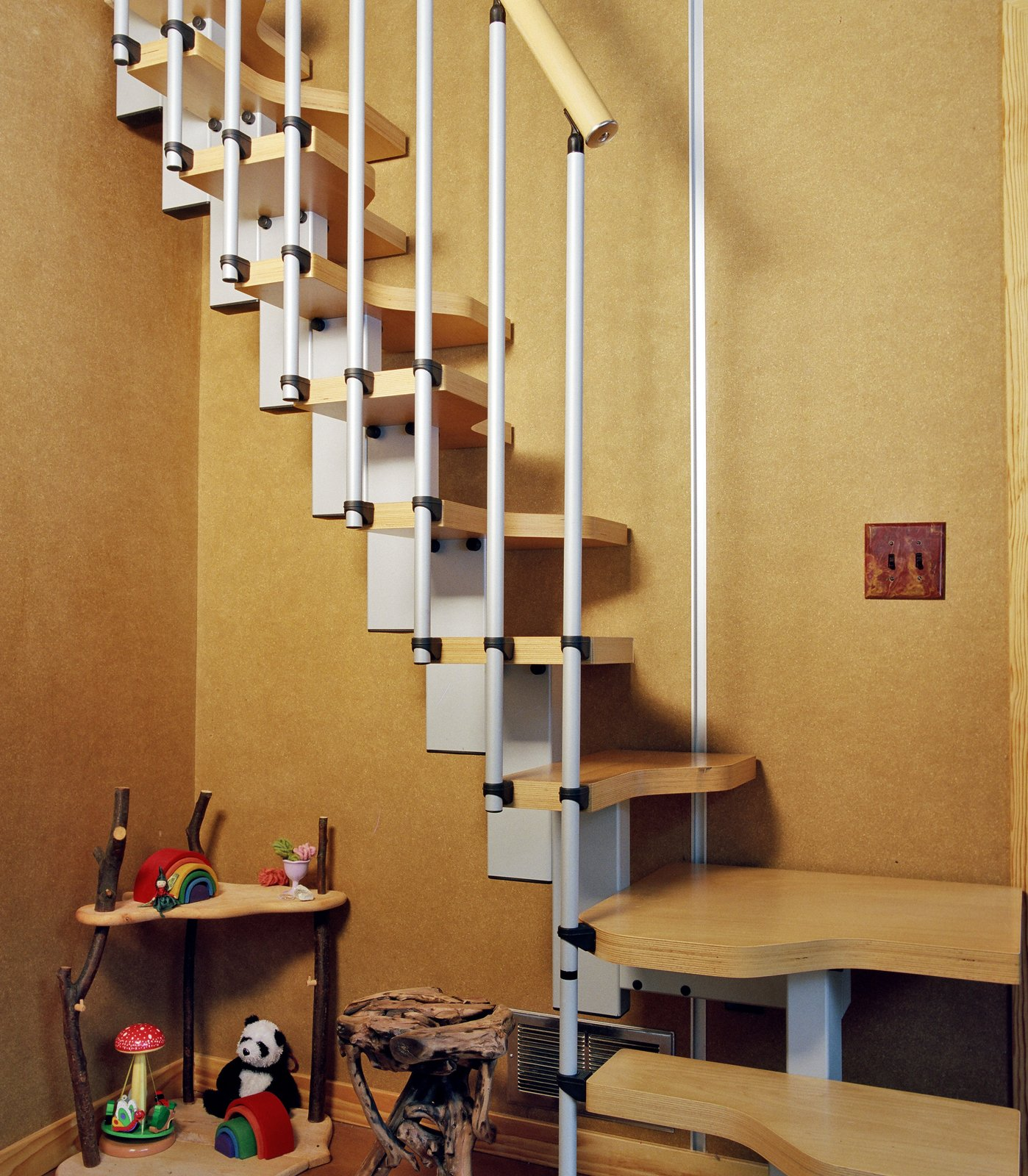 Staircase, Wood Tread, and Metal Railing  Wee Ski Chalet by Barrett Studio Architects
