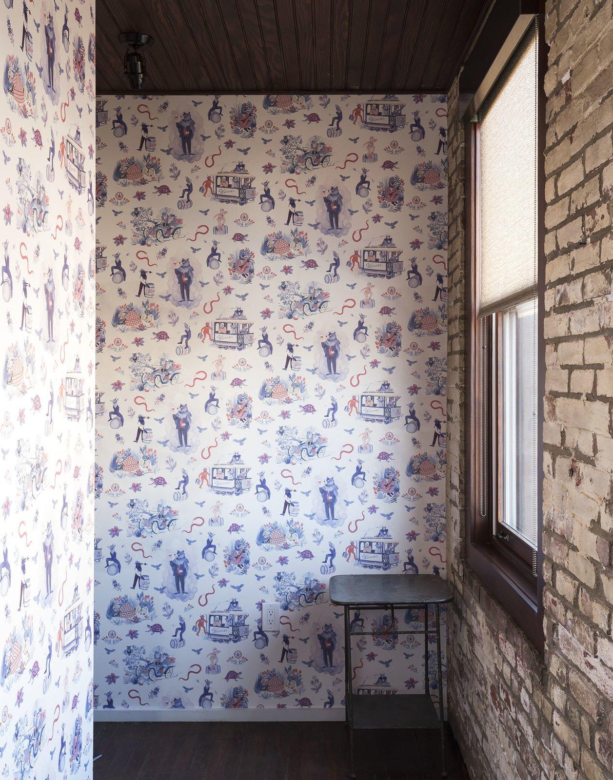 Hallway, Brick Floor, and Medium Hardwood Floor  Mulherin's Hotel