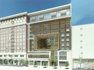 A new 12-story mixed-use building next to a designated historic building in Downtown Los Angeles