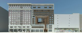A new 12-story mixed-use building next to a designated historic building in Downtown Los Angeles - Photo 1 of 1 -