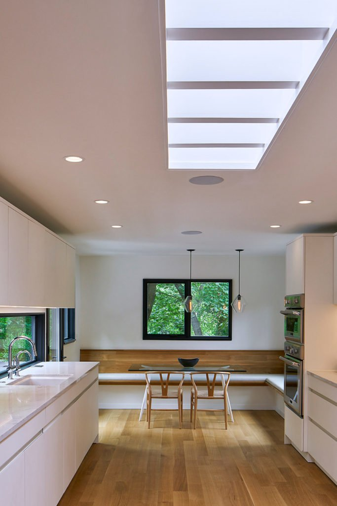 Kitchen, Recessed, Undermount, Pendant, Refrigerator, Microwave, Ceiling, White, Wall Oven, and Light Hardwood  Best Kitchen Microwave Ceiling Light Hardwood Undermount Wall Oven Photos from Saxonia Residence