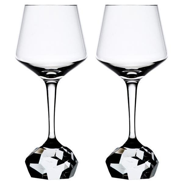 "Bohemian Crystal Diamond-Cut Red Wine Glasses ""Stone"" (Set of 2)"