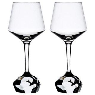 "Bohemian Crystal Diamond-Cut Red Wine Glasses ""Stone"" (Set of 2)"