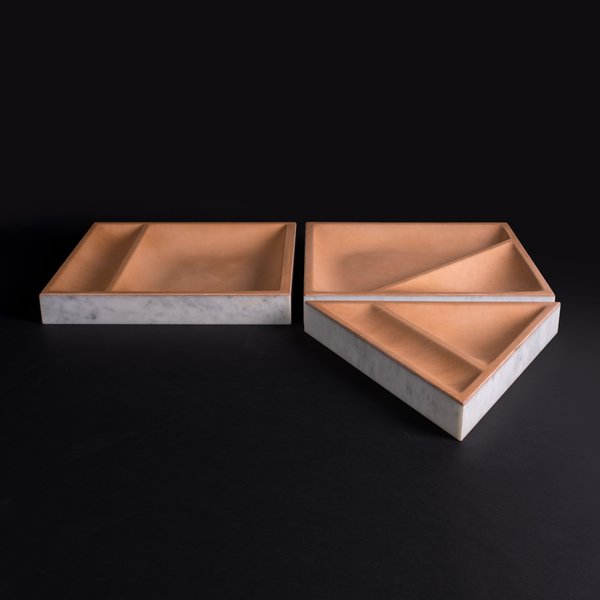 """Marble & Leather Tray """"Draft"""""""