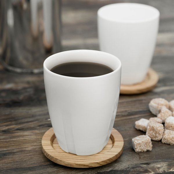 Porcelain Mug with Oak Lid (Set of 2)