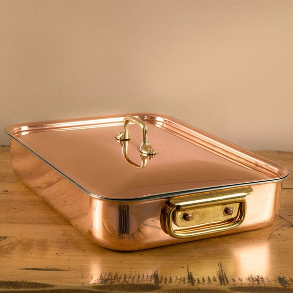 Rectangular Copper Roasting Pan with Lid