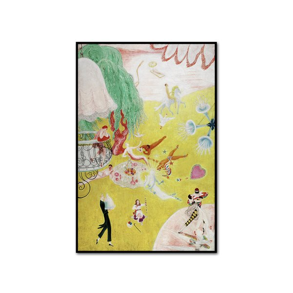 Love Flight of a Pink Candy Heart Framed Art Print by Florine Stettheimer