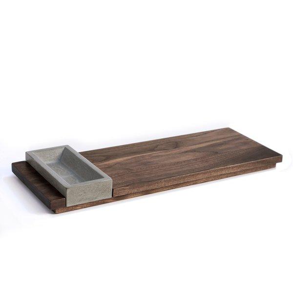 Wood Serving Tray & Concrete Bowl