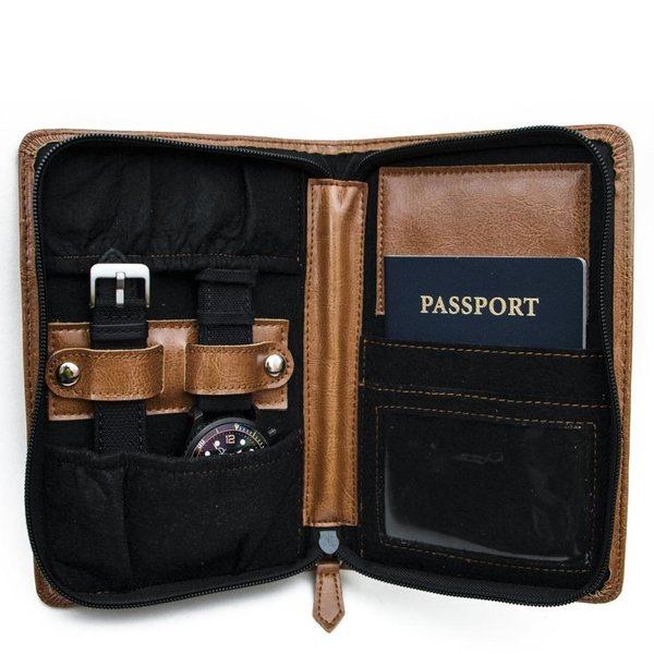 Leather Travel Timepiece Wallet