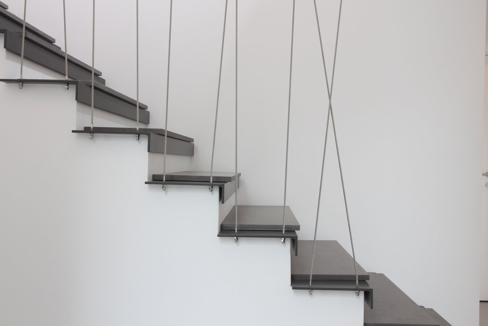 Staircase, Metal Tread, Stone Tread, And Cable Railing Existing Wooden Stair  Transformed Into