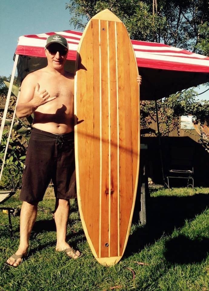 One stoked shaper.  Photo 21 of 26 in Crafting a Hollow Wood Surfboard from Old-Growth Redwood