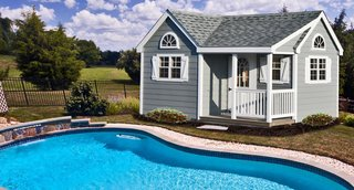 A Horizon Structures pool house shed is the ultimate in poolside comfort and utility. It can be used as storage for the kids' pool toys, a guest changing area, or as a place to store your pool chemicals, pump, and filtering system.