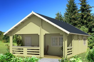 This prefabricated log home with loft is perfect for a family with children. It has an open living room/kitchen area, a bathroom big enough for a shower, toilet, sink, two bedrooms, and a spacious loft.