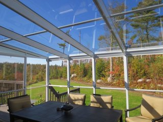 Halifax Sunrooms assures customers that the glass in their models contains protection from UV rays. The construction material is flame-proof and contains a protective fungicide, while the roof is made with tempered-safety glass.