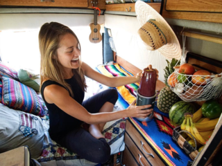 "Sarah and Bryan are making their way across North America in their vehicle Pepita—backpacking, cooking, and ""goofing...powered by peanut butter."" They reminisce about ""that face you make when you blend your first solar-powered smoothie in the van."""