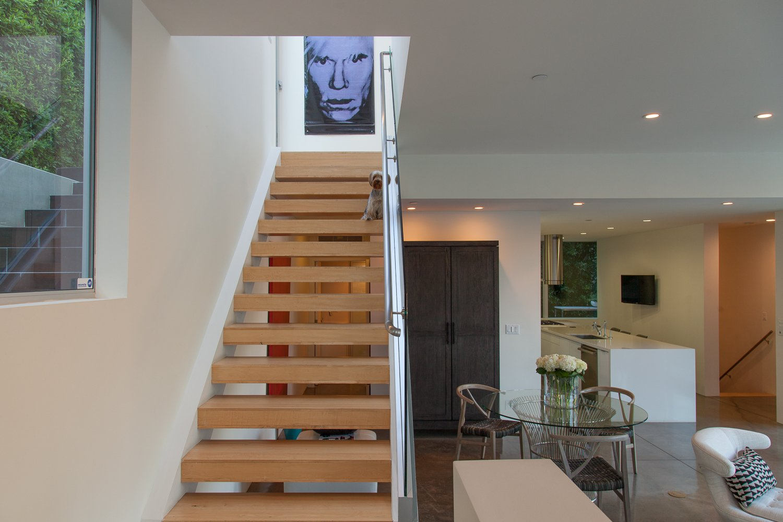Staircase, Wood Tread, Metal Railing, and Glass Railing  leeMundwiler architects, FAIA :: Cantilever House