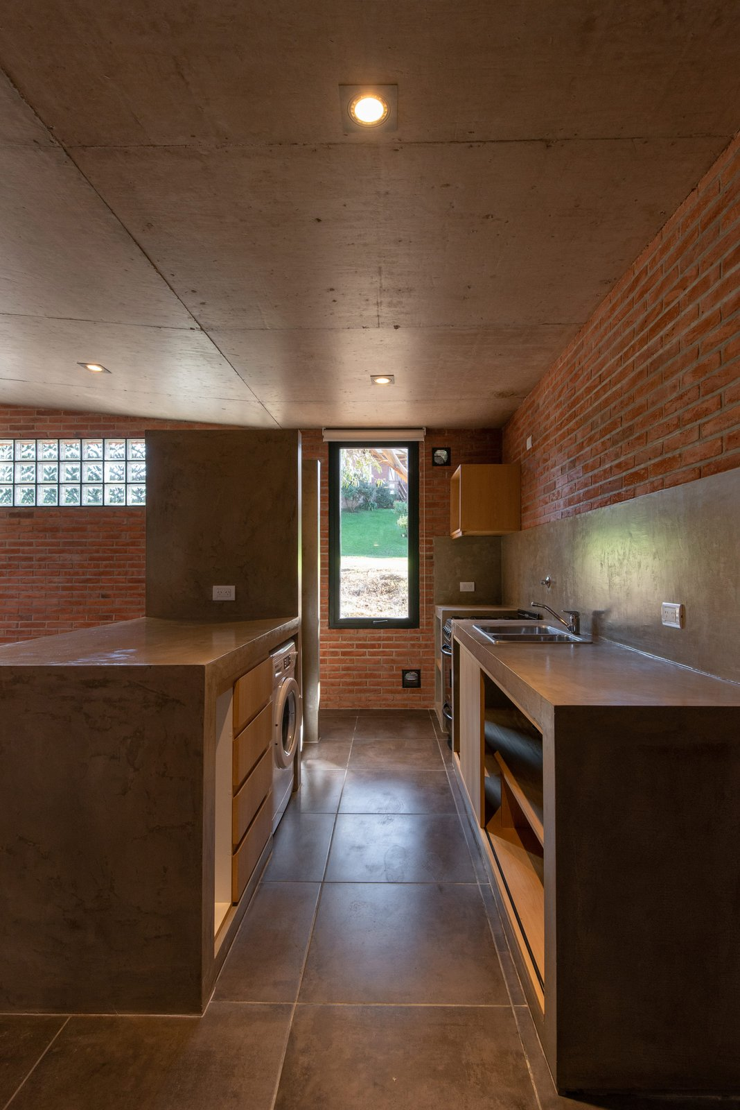Kitchen, Ceiling, Refrigerator, Concrete, Microwave, Ceramic Tile, Wood, Drop In, and Concrete  Best Kitchen Microwave Drop In Wood Refrigerator Photos from Casa RINCÓN