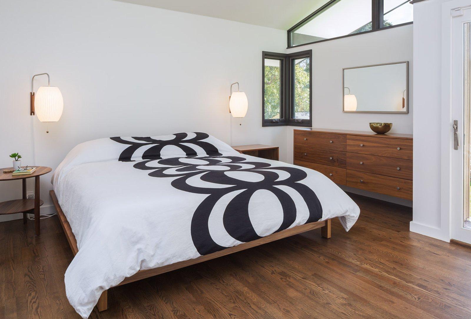 Bedroom, Bed, and Medium Hardwood Floor  Mid Century Re-Modern by HMHAI