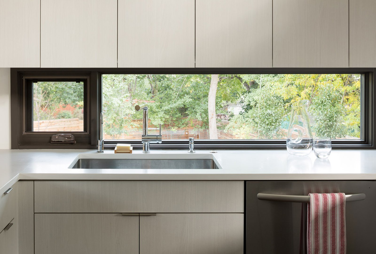 Kitchen and White Cabinet  Mid Century Re-Modern by HMHAI