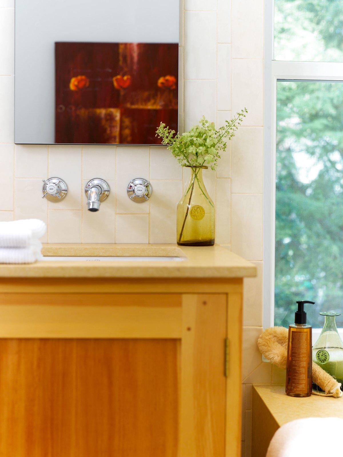 Bath Room, Undermount Sink, Porcelain Tile Wall, Undermount Tub, and Engineered Quartz Counter  Urban Farmhouse