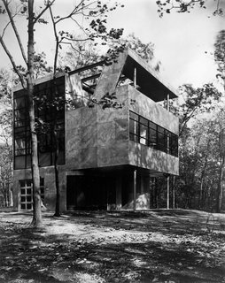 A. Lawrence Kocher and Albert Frey's Aluminaire House in 1931, with a view of the front entrance and double-height living room windows.