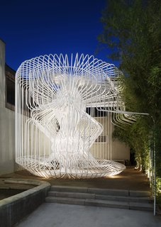 La Cage aux Folles in Los Angeles by Warren Techentin Architecture won a 2017 award for its exploration of a complex structure made out of bent-steel tubes.