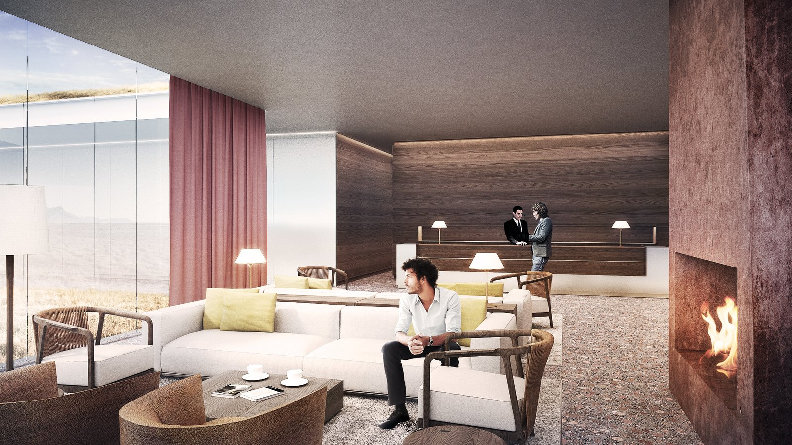 Living Room, Table Lighting, Sofa, Standard Layout Fireplace, Floor Lighting, Coffee Tables, and Chair lobby  Photo 4 of 18 in A Proposed Icelandic Resort Celebrates Wellness and its Magical Surroundings