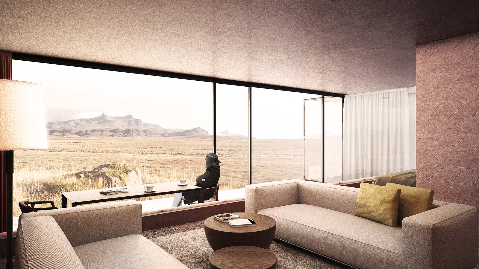 Living Room, Sofa, Coffee Tables, Chair, Table, Rug Floor, and Floor Lighting suite  Photo 9 of 18 in A Proposed Icelandic Resort Celebrates Wellness and its Magical Surroundings