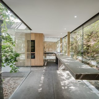 A Portuguese Glass House Uses Surrounding Foliage as a Privacy Screen - Photo 9 of 15 - A custom kitchen with a cantilevered countertop mimics the way the house is perched on a hillside, seeming to defy gravity.