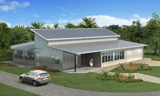 Featuring a steel frame and prefabricated exterior panels by EcoSteel, this home designed by a professor of architecture in Miami consumes just one-seventh of the energy needed to fabricate and erect a conventional concrete block home in the area. Issues of durability and sustainability were considered, given Miami's harsh climate, and solar panels and a green roof were also incorporated.