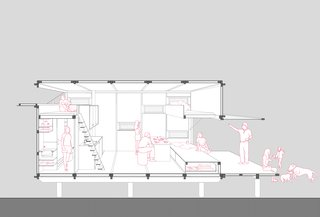 A sectional drawing shows the space as it could be used with opened panels to the outdoors.