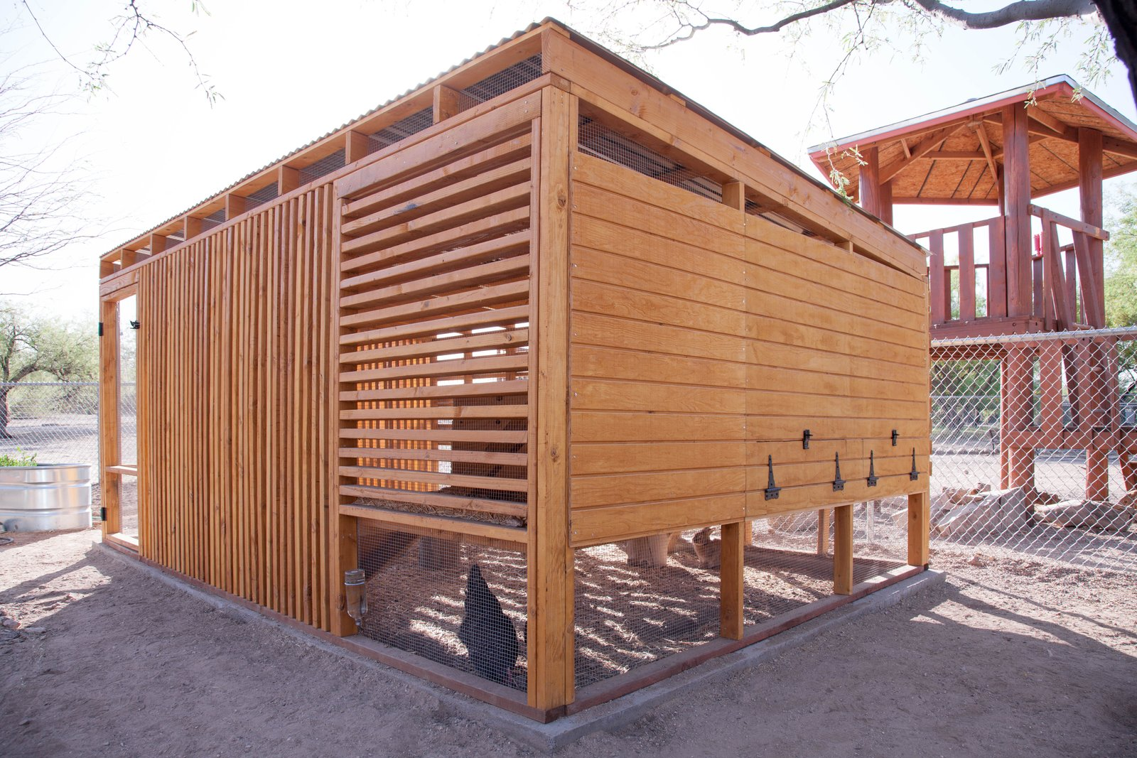 Some sides have wood siding rather than louvered wood because of the orientation to the sun.