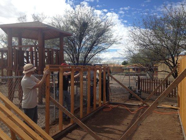 The chicken coop under construction.