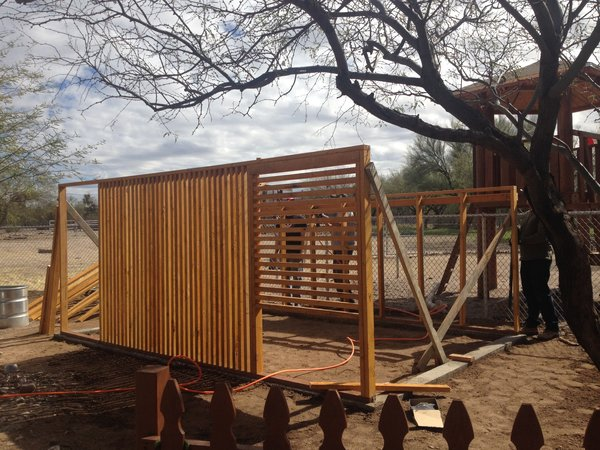 The coop was designed by architect Gideon Danilowitz and was constructed with fellow volunteers from his son's school in Tucson.