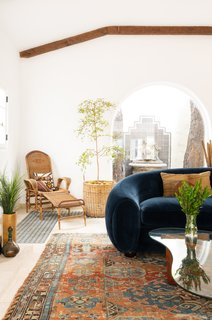 Vintage pieces of both modern and more traditional styles are incorporated into the space.