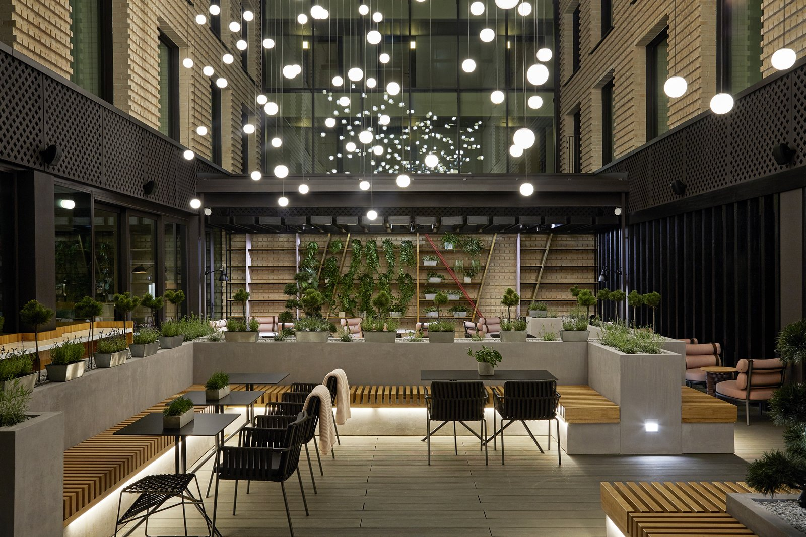 Dining Room, Chair, Pendant Lighting, and Bench  Photo 2 of 15 in This New Hotel in Poland Is a Creative Paradise