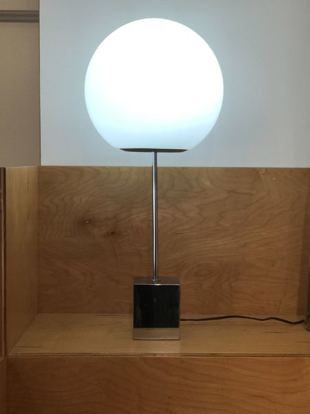 The Lollipop Lamp, designed by Robert Sonneman, is a simple and classic midcentury table light.