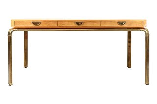 A burled wood 82961 desk by John Widdicomb.